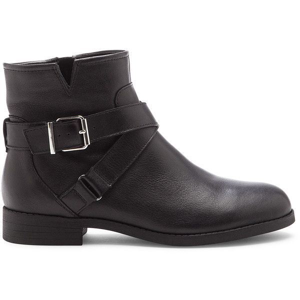 Sole Society Jinx Moto Bootie ($100) ❤ liked on Polyvore featuring shoes, boots, ankle booties, black, black leather ankle booties, ankle boots, black booties, black flat ankle booties and short black boots