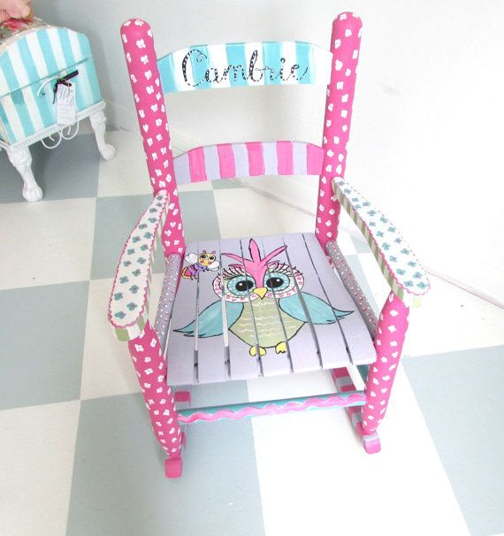 Personalized Painted Rocking Chair for a girl or a boy. These pictures are examples of custom chairs I have painted. You can choose any theme and
