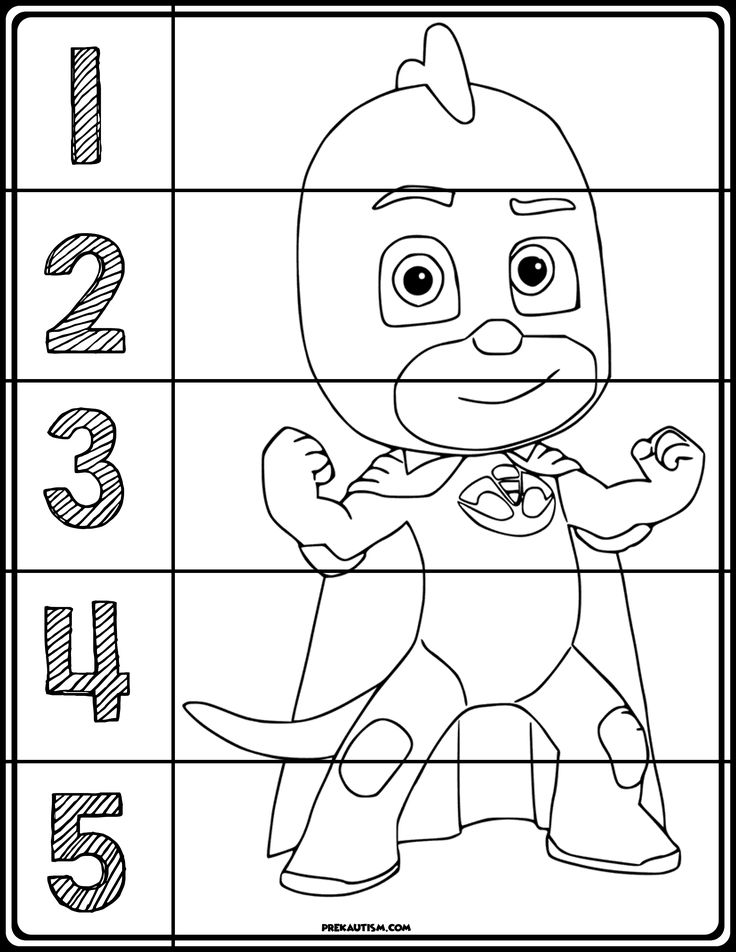 PJ Masks Coloring Number Puzzles Pj mask, Pj masks