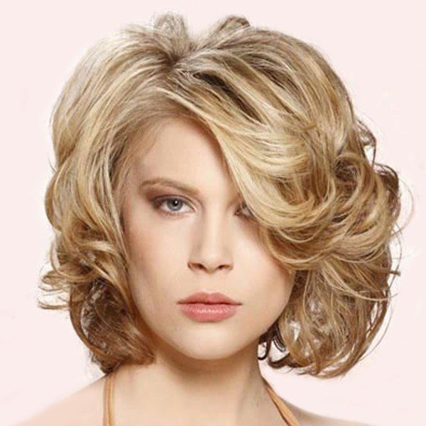 $12.35 Elegant Short Side Bang Fluffy Wavy Capless Vogue Brown Mixed Synthetic Wig For Women