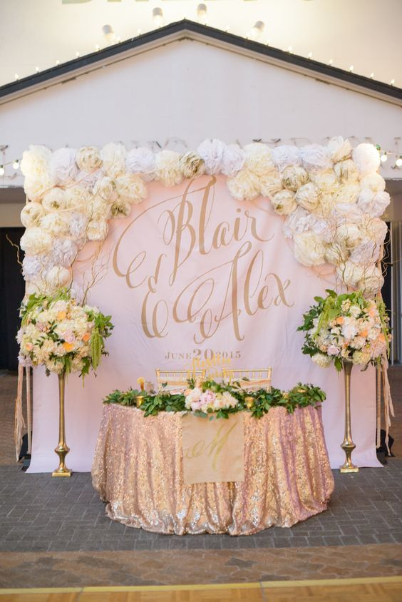 Sweetheart Table Backdrop with Large Gold Calligraphy Monogram /  / http://www.himisspuff.com/wedding-backdrop-ideas/9/