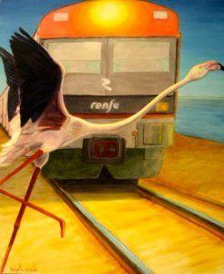 Autor: Ángela Acedo Título: Cigüeña Cruzando Vía Del Tren Año: 2010 Técnica: Óleo sobre lienzo Tamaño obra: 60 x 50 cm. Estado: Perfecto