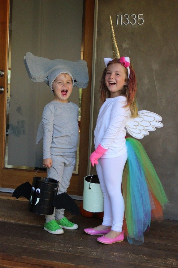 DIY no sew Halloween costumes! A hammerhead shark and a rainbow unicorn.