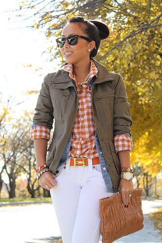 Love the layers... Orange gingham, denim shirt, and army fatigue jacket paired with white skinnies