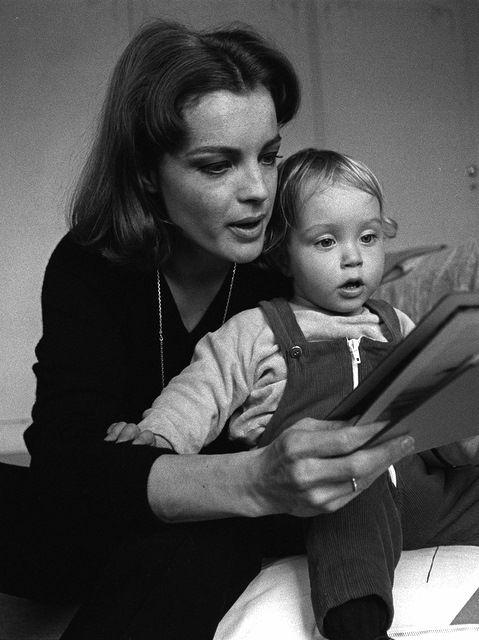 marilyn-romy-brigitte: Romy Schneider reading to... |
