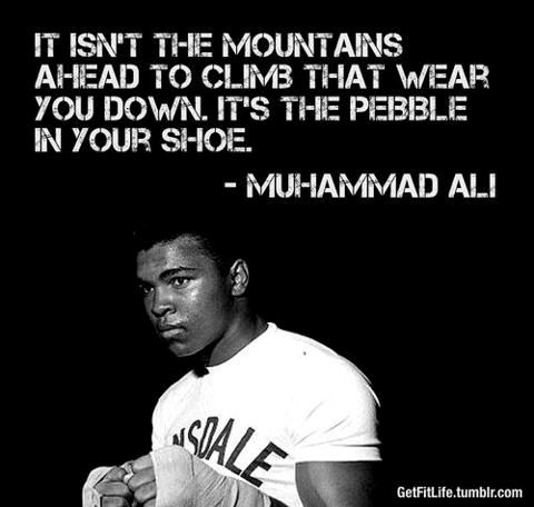 It isn't the mountains ahead to climb that wear you down.  It's the pebble in your shoe. Muhammad Ali