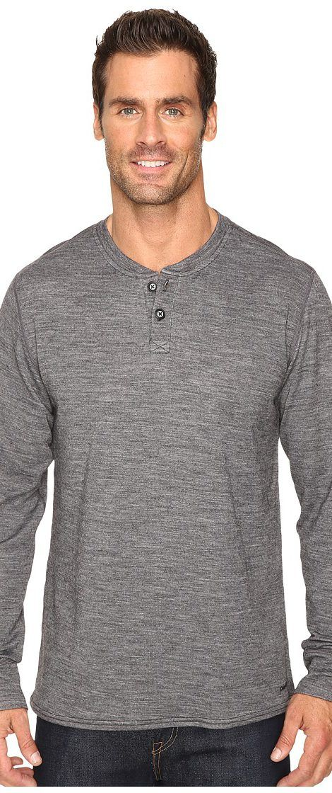 Hot Chillys Wool Double Layer Henley (Charcoal Heather) Men's Clothing - Hot Chillys, Wool Double Layer Henley, HW8503, Apparel Top General, Top, Top, Apparel, Clothes Clothing, Gift - Outfit Ideas And Street Style 2017
