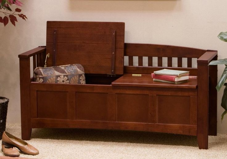 Traditional style is the most timeless and common you'll find when shopping for a storage bench. These are almost always wooden models, with arms, backs, and carved details. Our example here features dual hinged lids and an arched back.