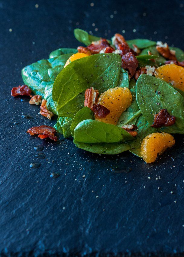 Ensalada de espinacas y mandarina