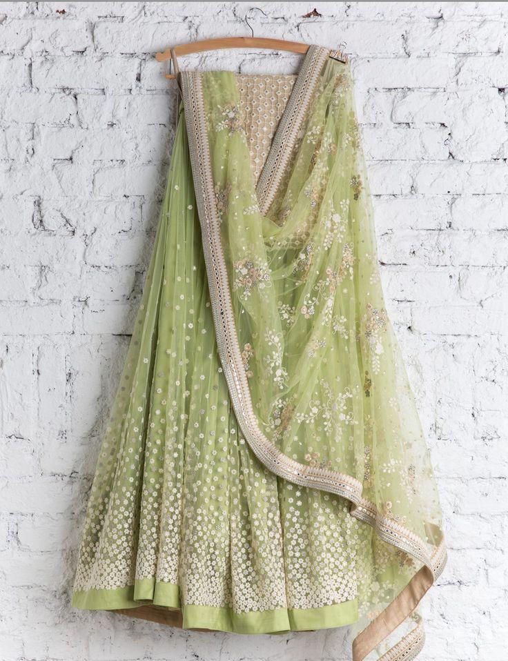 SwatiManish - Mint green lehenga and dupatta