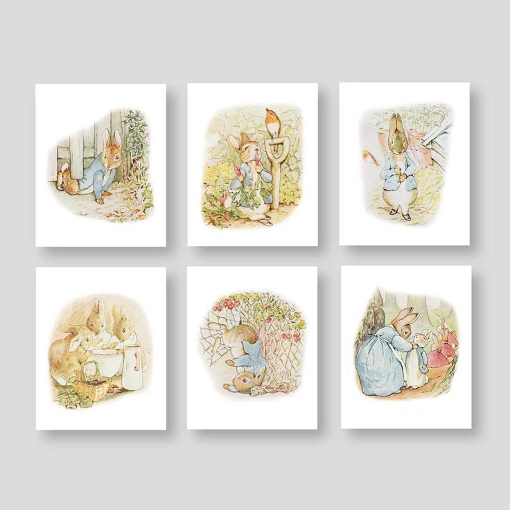 Peter Rabbit Wall Decor - Beatrix Potter Nursery - Baby Boy or Girl Storybook Nursery - Girl Bedroom Art - Tales of Peter Rabbit (PR-001) Pin now to view later