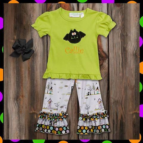Lime Lavender Halloween Multi Dot Ruffle Pant Set. Only $29 from Lolly Wolly Doodle. Https://social.lollywollydoodle.com