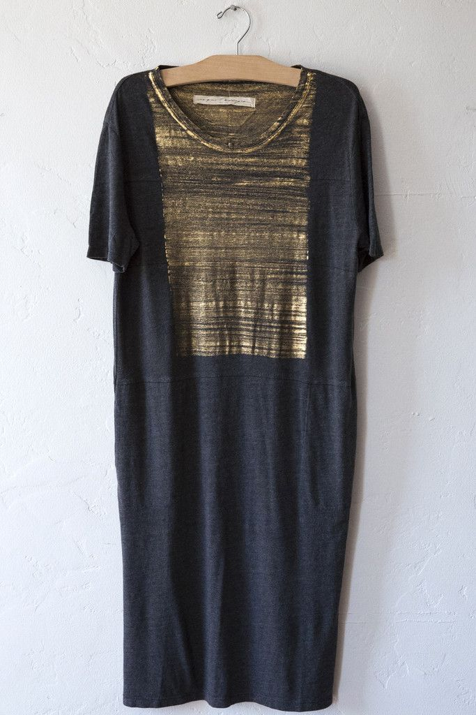 raquel allegra gold paint tee dress