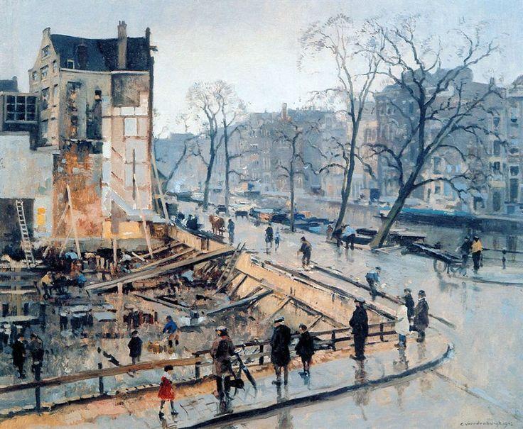 Cornelis Vreedenburgh (1880-1946)  Corner Paleissingel Straat In Amsterdam