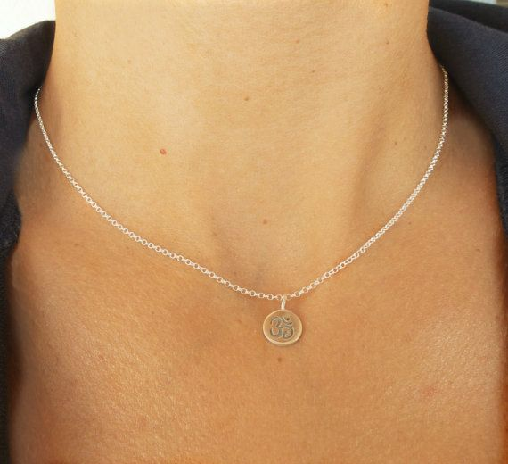 Tiny OM necklace Sterling silver OM pendant Yoga by SoCoolCharms, €22.50