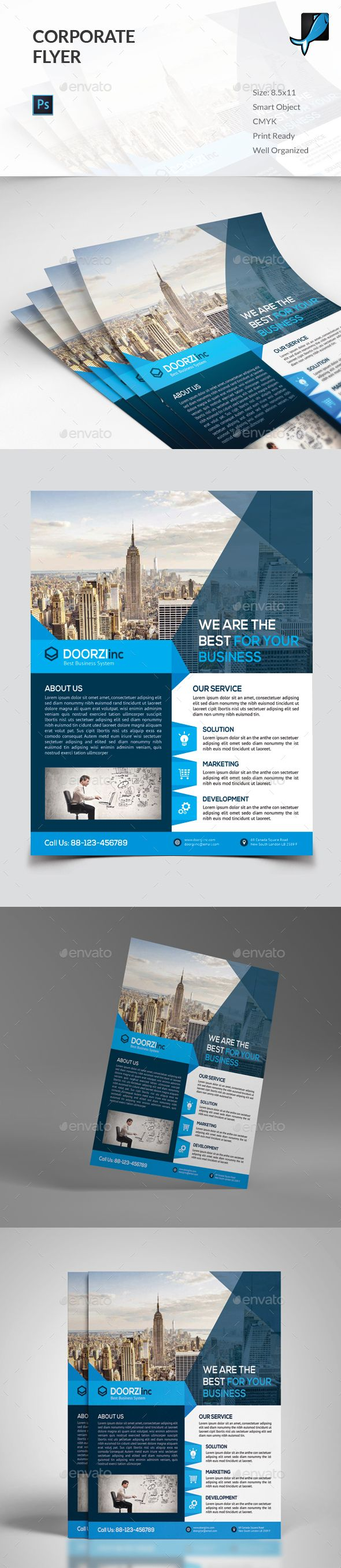 Corporate Flyer Template PSD #design Download: http://graphicriver.net/item/corporate-flyer/13488179?ref=ksioks