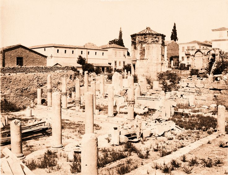 https://flic.kr/p/o6fPYT | Roman Agora and Clock of Andronikos, ca. 1880 | Attributed to Athanassiou. The long white building on the left is Plaka prison, formerly an Ottoman medresse. For details of the history of the building, see www.flickr.com/photos/athens_greece/14013086125/ Public Domain. Image file scanned from MBE private collection. Updated image (colour and resolution changes) 25 June 2014