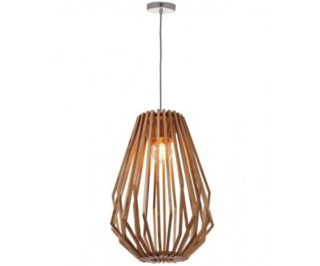 Stair well light Stockholm 1 Light Tall Flair Pendant in Natural Wood