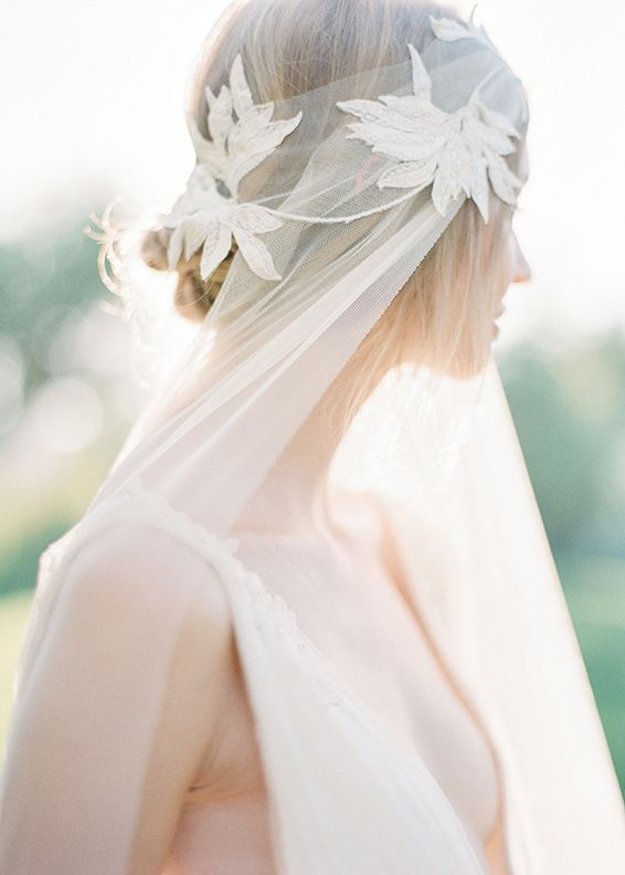 modern romantic chic bridal veil