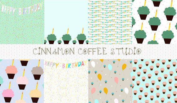 Happy Birthday Digital Papers Happy by CinnamonCoffeeStudio