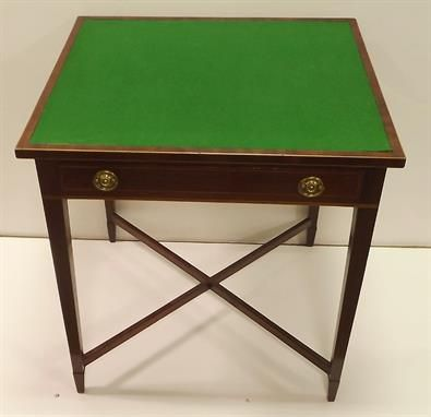 Unusual Edwardian Inlaid Mahogany One Drawer Games Table