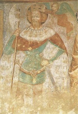 Velemér - A freskó a Szentháromság-templomban, a hajó északi falán található, Aquila János munkája.