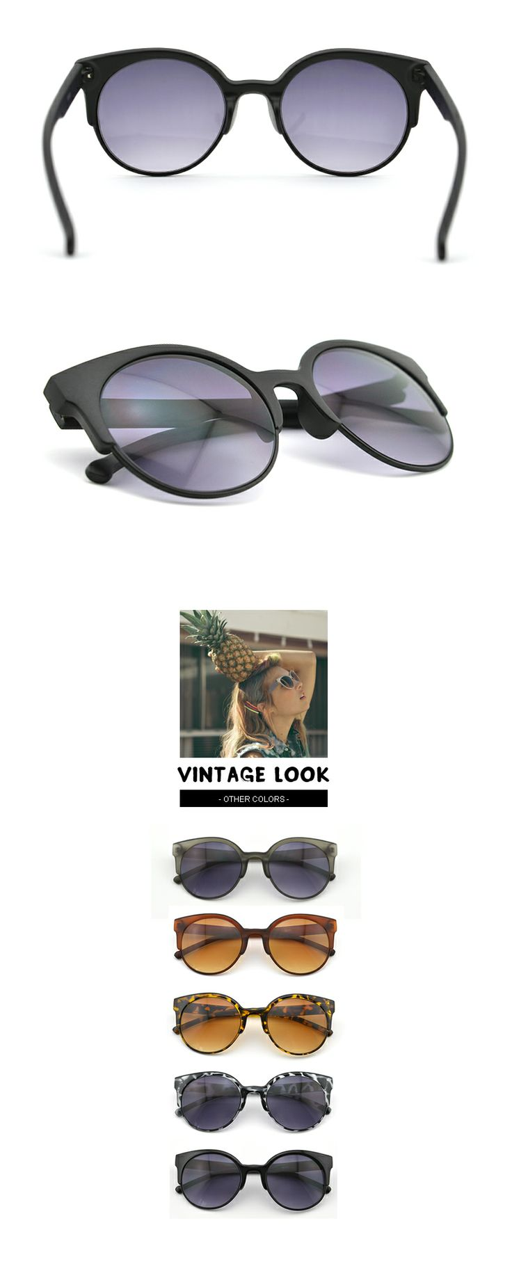 #Black Half band Sunglasses-Gradient lens-Retro Style Glasses-Slim Face #Half-band #Gradient lens #Vintage Look Visit - FUNMEMO.COM  to see More