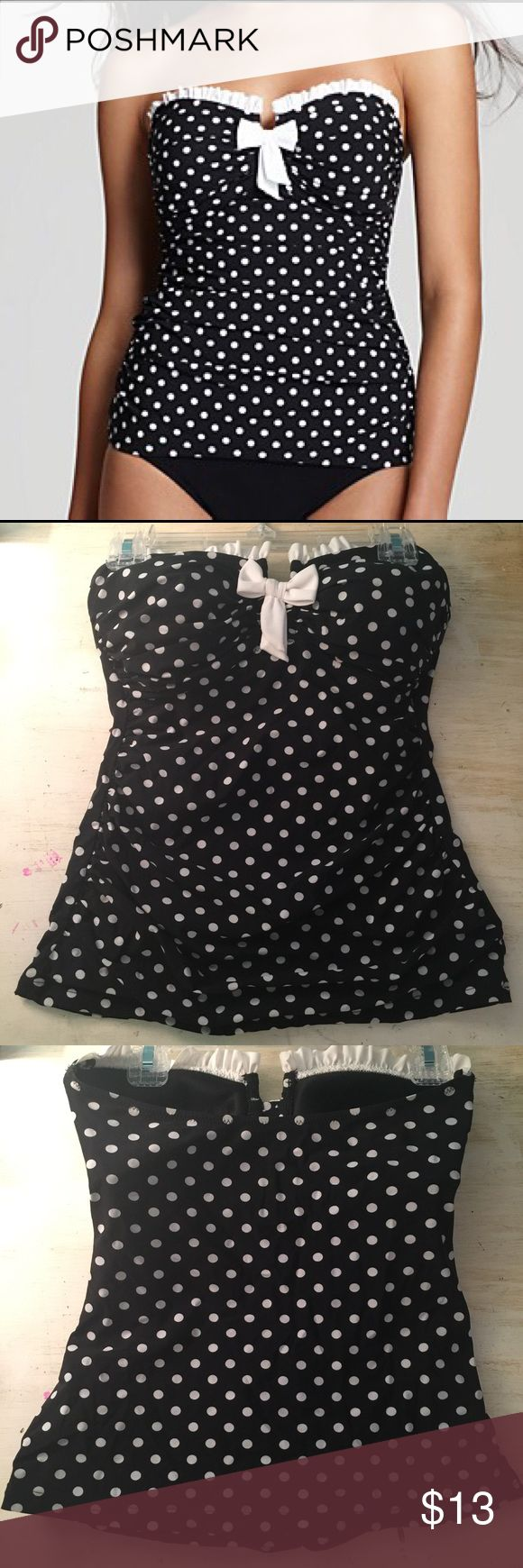 Strapless Black and White Polka-dot Tankini Top Adorable Polka-dot strapless swimsuit top! It has been worn once, and it is in perfect condition! Profile Swim