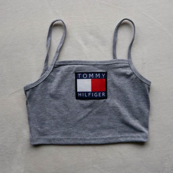 Reworked Tommy Hilfiger Crop Top/ Bandeau Style Top in Grey ($20) ❤ liked on Polyvore featuring tops, grey crop top, bandeau crop top, bandeau tops, logo top and bandeau bikini tops