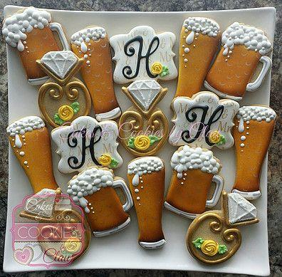 Beer inspired Bridal, Bachelorette, Cookies Beer Mug Cookies, Beer Glass Cookies