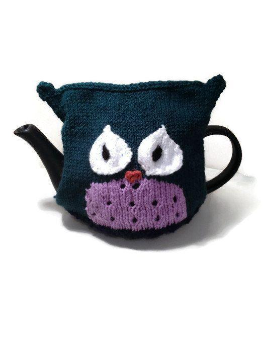 "The ""Oscar Owl"" Tea Cozy - Size Medium - Hand Knitted Tea Cozy - Cute Gift Idea, Kitchen Accessory, Home Decor"