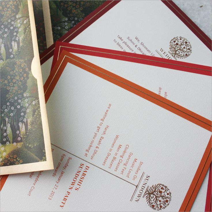Indian wedding invitation with a tree monogramsymbol