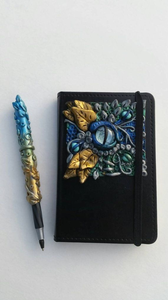 Fantasy Dragon Eye Journal Pen Set Polymer by TurtleCoveCreation