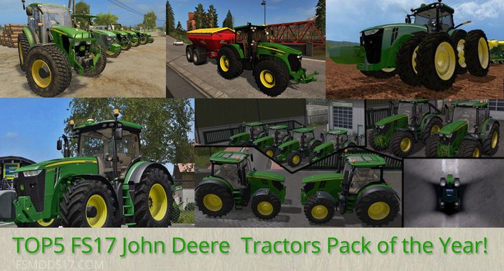 We have collected the most popular TOP5 FS17 John Deere Tractors Pack of the Year according to the number of downloads! Top 5 John Deere tractors: 1. JOHN DEERE 8400R 2. John Deere 7930...