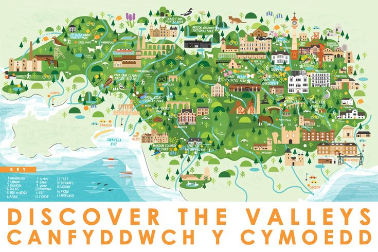 Discover The Valleys - Map of South Wales by Sarah Abbott