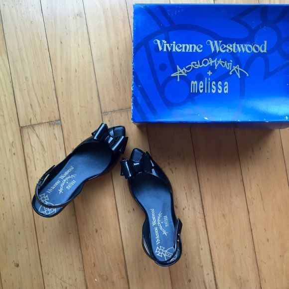 """Vivienne Westwood Melissa Bow Heels Almost brand new! Peep toe with bow, adjustable back strap, 3"""" heels. Still has the Melissa signature fragrant smell. Made by soft rubber Vivienne Westwood Shoes Heels"""