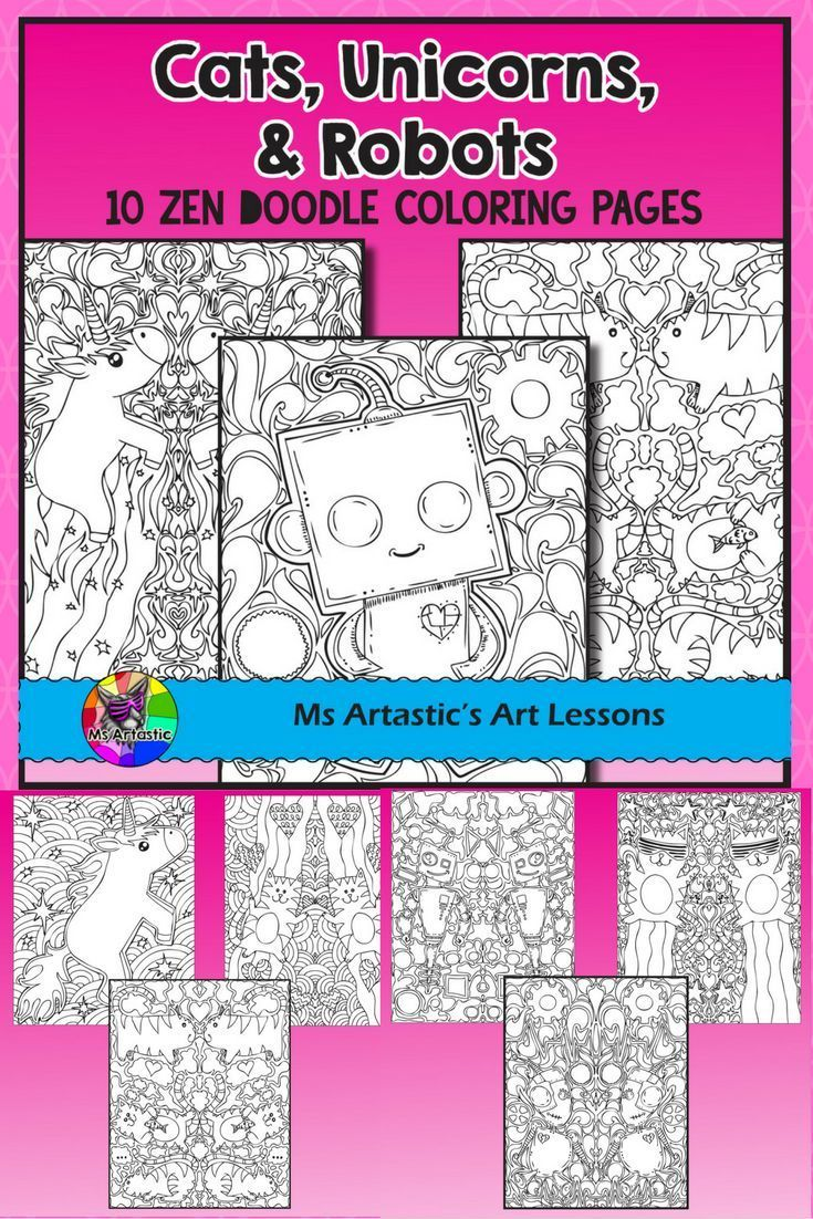 Cats, Unicorns, and Robots. Who doesn't love those? Surprise your students with 10, zen tangle coloring pages to allow for educational, mindful coloring in your classroom. All coloring pages are hand drawn by Ms Artastic with love and care.