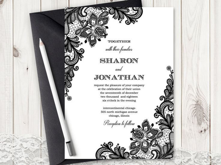 78 images about Vintage Lace Wedding Invitations – Black Lace Wedding Invitations