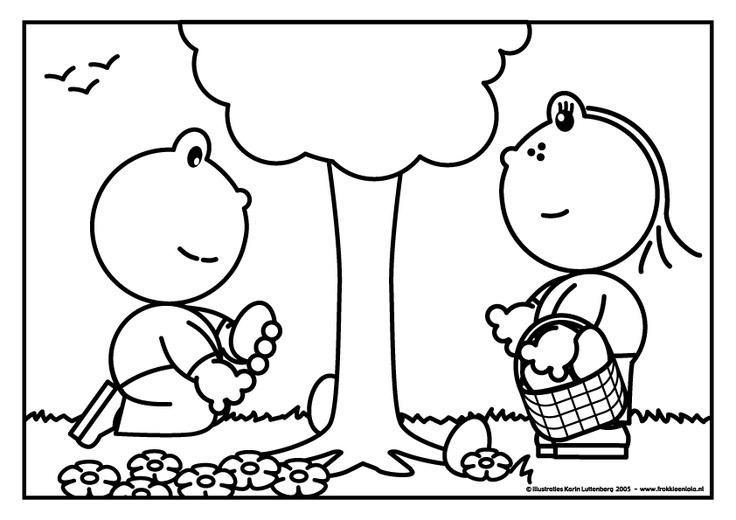 Kleurplaat eieren zoeken met Frokkie & Lola