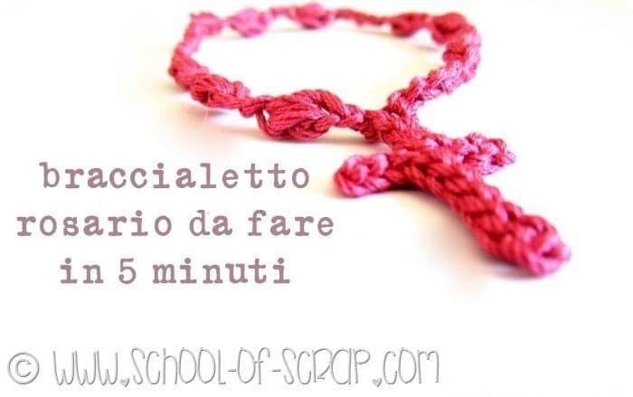 braccialetti rosario a crochet, come gli altri coloratissimi e velocissimi da fare, si possono indossare a cascata e anche regalare.