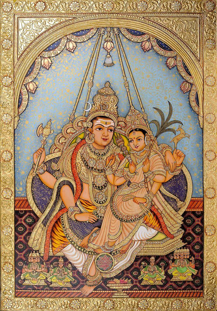 Shiva and Rajarajeswari, Mysore Painting