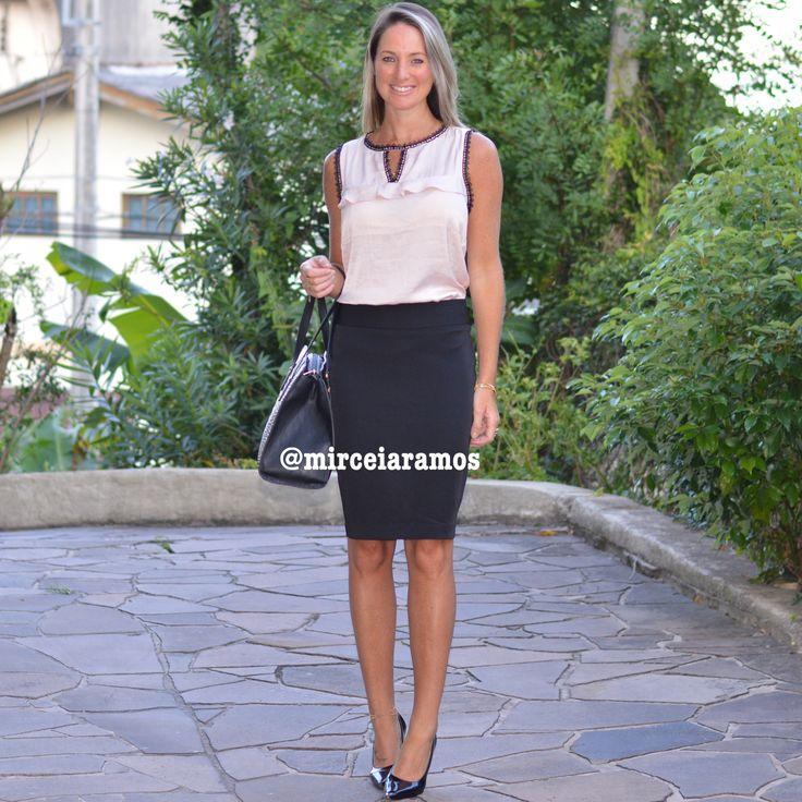 Look de trabalho - look do dia - look corporativo - moda no trabalho - work outfit - office outfit -  spring outfit - look executiva - summer outfit - look clássico - look formal - saia lápis - pencil skirt - rosa e preto - rosé - pink - black - scarpin