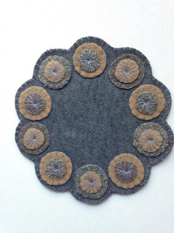 Handmade Felt and Wool Penny Rug Penny Mat Felt Mat by FolkHome