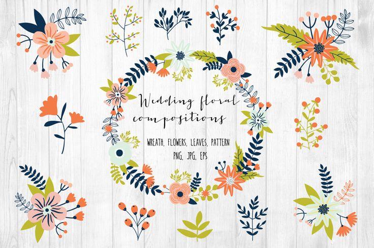 Wedding floral compositions by lokko studio on Creative Market
