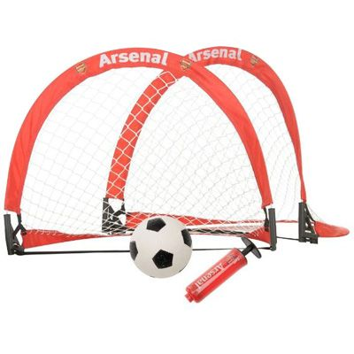 Arsenal skill goal set containing 2 x mini goals, 1 mini football and football pump, all in club colours and featuring the Arsenal club crest. FREE DELIVERY on all of our gifts