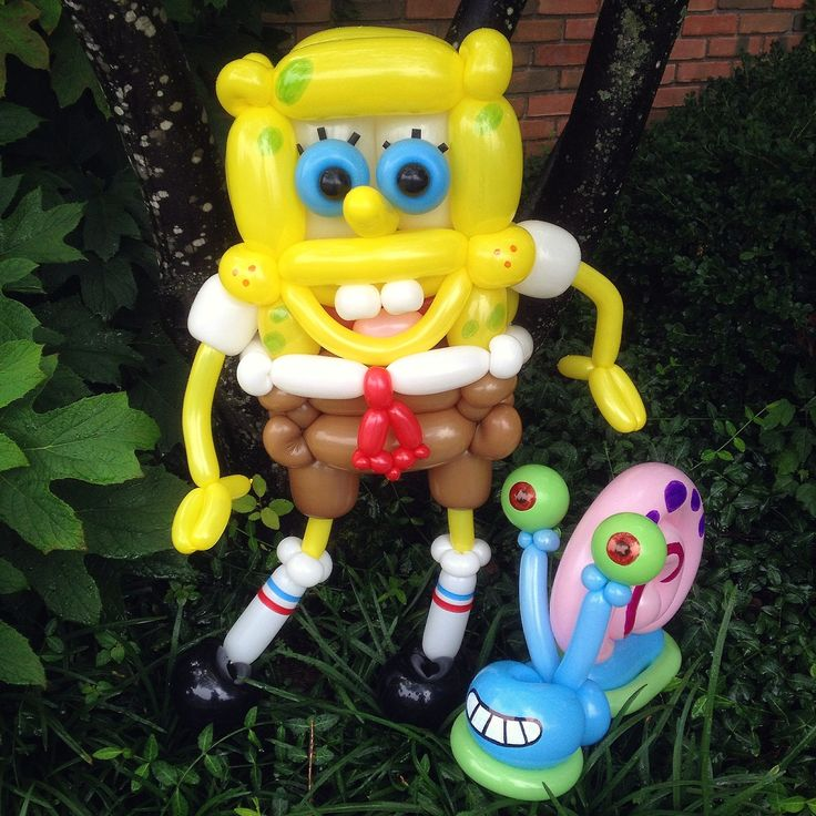 Who lives in a pineapple under the sea… SPONGE BOB SQUARE PANTS and, …meow- Gary snail Balloon Animals from  NickelodeonTV