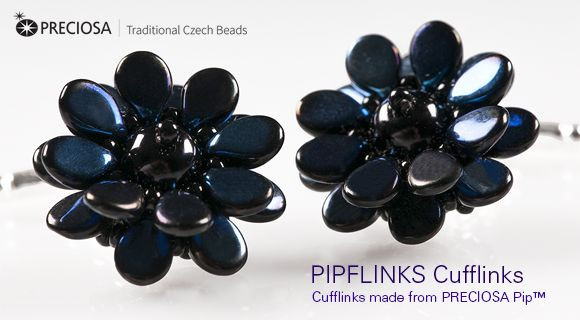 * PRECIOSA Pip™ - beads and peyote stitch to make little flower shaped motifs and turn them into a pair of elegant cufflinks.