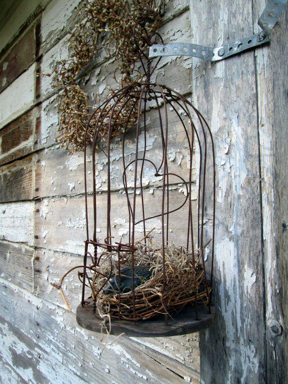 Antike primitiven dekorative Draht Vogelkäfig von Holliezhobbiez