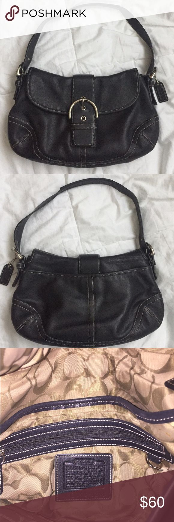 """Coach Hobo Shoulder Bag Coach Hobo Shoulder Bag   Excellent gently used condition. Inner lining is in great condition with no holes, tears or stains. A hang tag is included. Fold over magnetic snap top closure, two sections, one with two interior slip pockets, one zippered interior pocket, the other with no additional pockets, one exterior magnetic snap pocket. Approximately 12"""" x 8"""" x 5.3 with 8"""" adjustable strap drop.  The creed number is G045-9248.   Questions? Please ask prior to…"""