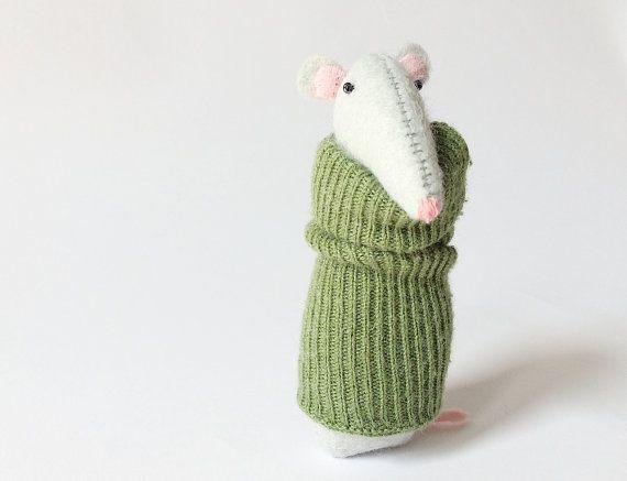 Voelde me Rat In groene trui vilt Kleindieren unieke door AmuruToys